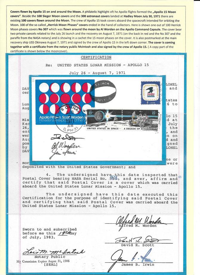 Apollo 15 Moonpahse cover Herrick , 100 itmes flown around the moon druing the Apollo 15 mission, plus certificate