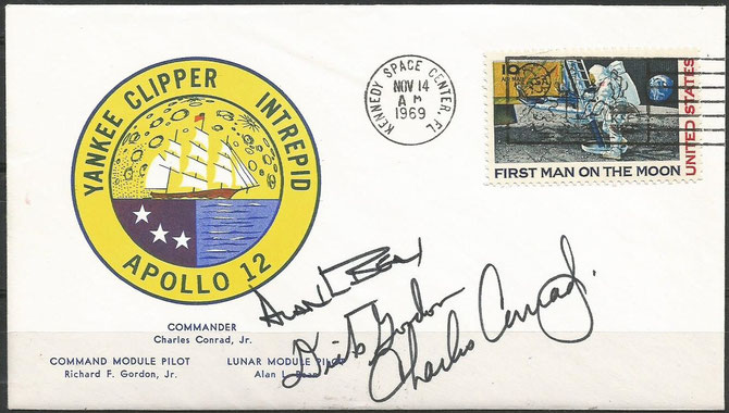 Apollo 12, launch cover dated 14.11.1969 orig.signed by the complete crew Conrad, Gordon and Bean