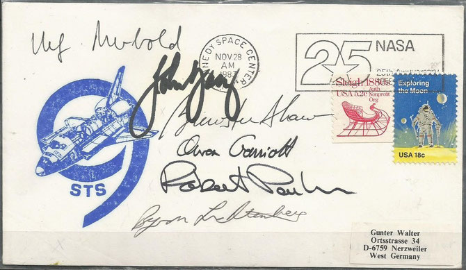 Space Shuttle STS-9 launch cover dated 28.11.1983, orig. signed by complete crew
