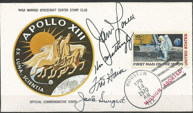 14.04.1970 Apollo 13 mission aborted due to explosion of oxygentank, orig.signed by complete crew and capcom Mattingly