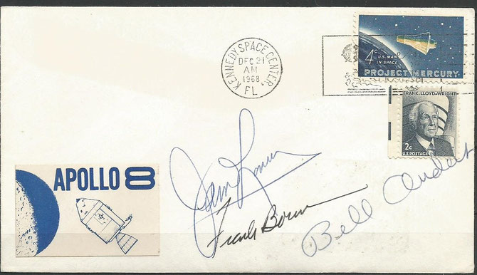 Apollo 8 lauch cover dated 21.12.1968 orig. signed by complete crew Lovell,Borman and Anders, KSV cachet 18700 items issued KSC
