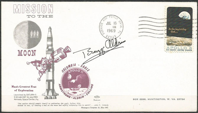 Apollo 11 launch cover, orig.signed by Buzz Aldrin dated 16.07.1969