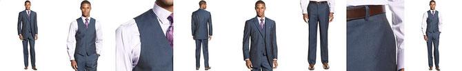 Sean John Suit, Blue Solid Vested Special Savings  Reg.  EUR 187.89