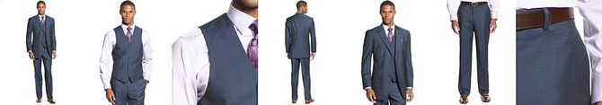 Sean John Suit, Blue Solid Vested Big and Tall Special Savings  Reg. EUR 206.68 Sale