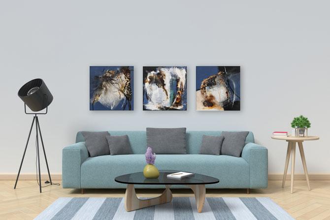 Acrylbilder, 3 mal 30 cm x 30 cm