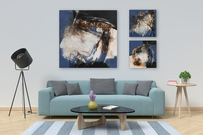 3 Acrylbilder, 80 cm x 80 cm und 2 mal 30 cm x 30 cm