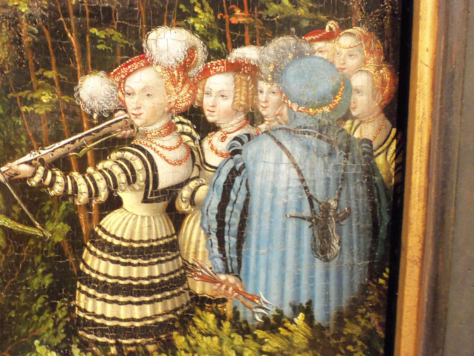 Detail from: Lucas Cranach, Hunting near Hartenfels Castle, 1540. (flickr, CC-BY-NC-ND 2.0, picture by Elizabethe). Renaissance fashion, Saxon gown