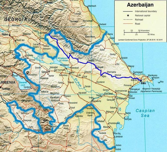 L'itineraire suivi en Azerbaijan