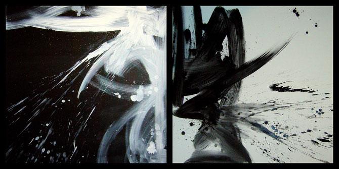 """""""bigger splash I & II"""" - 2 toiles de 80X80 - 2013"""