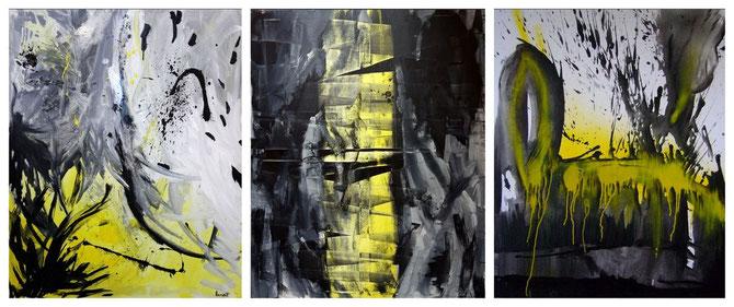 """avec 2 toiles de Benoît GUERIN """"MY Primary"""" à gauche et """"Y Liberty"""" au centre"""