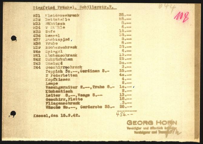 Schätzung des verbliebenen Hausrats des Ehepaars Fränkel nach der Deportation - HHStAW Abt. 518 (Entschädigungsakte Fraenkel)