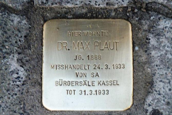 Stolperstein für Max Plaut  verlegt am 3.November 2013