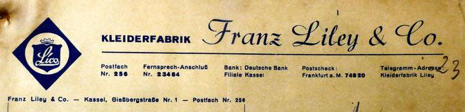 Briefkopf der Kleiderfabrik Liley & Co.