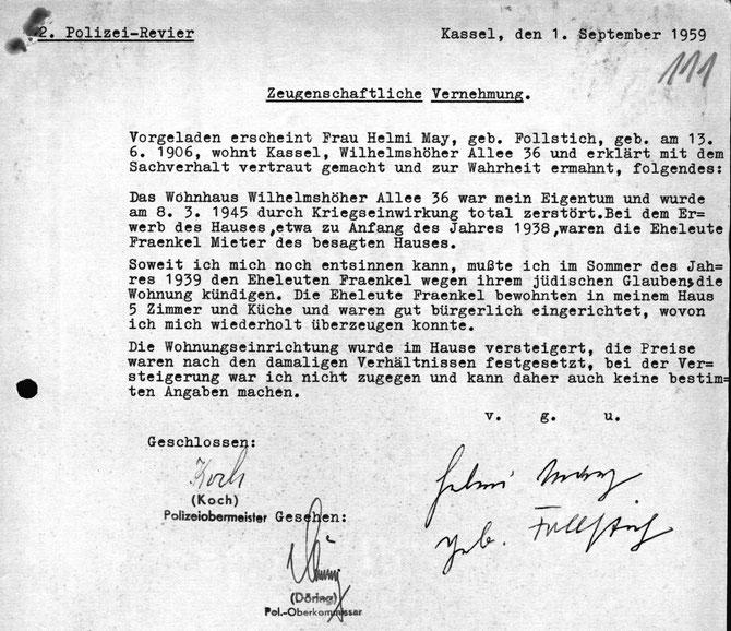 Zwangskündigung für das Ehepaar Fränkel - HHStAW Abt. 518 (Entschädigungsakte Fraenkel)