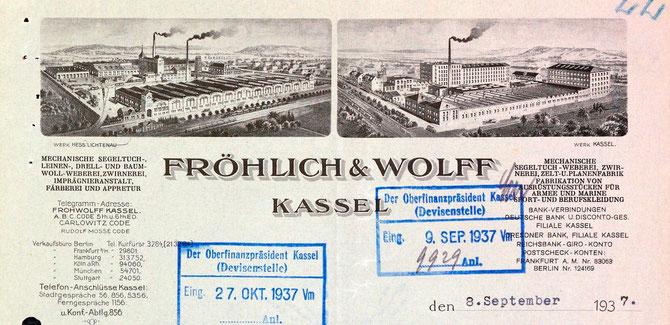 Briefkopf eines Schreibens von Fröhlich & Wolff mit einer Bescheinigung für Hans Katz