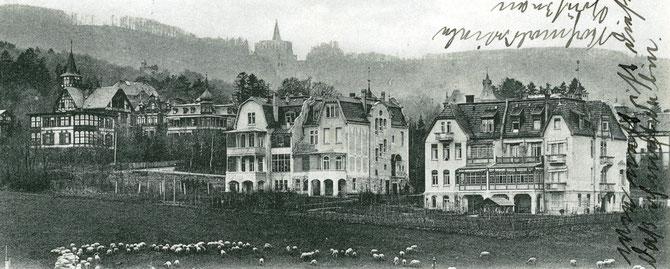 Postkarte (ca. 1910) mit dem Haus Lindenstraße 13/11 in der Bildmitte. Hier wohnte die Familie Bloch bis 1939. (Mulang Archiv - www.kassel-wilhelmshöhe.de/villen.html)