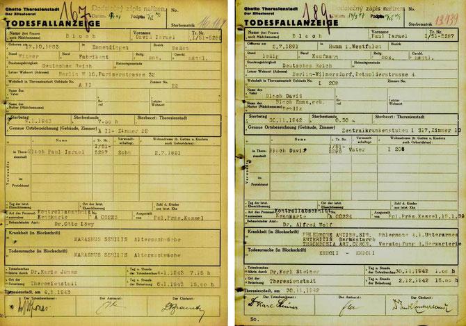 Todesfallanzeigen für David und Paul Bloch (holocaust.cz)
