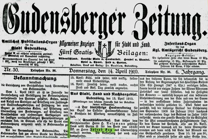 Zeitungsnotiz über den Kauf des Hauses in Gudensberg