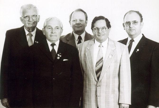 von links: Heinrich Amrein, Heinrich Naß, Friedrich Müller, Josef Schmidt, Heinrich Bubenheim