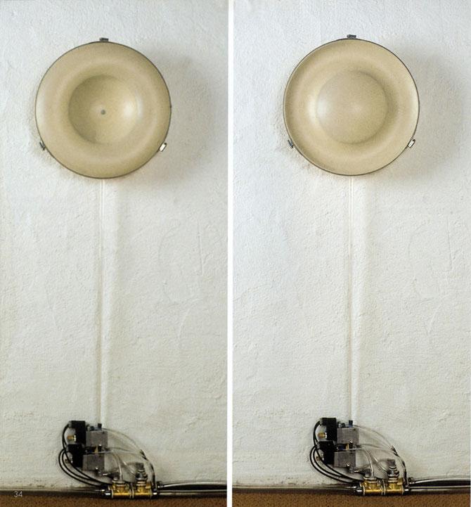 """""""Wellenatem"""", 1995, ø 40cm, Atemscheibe mit zwei Kammern, """"Atem"""", Gelerie im Heppächer, Esslingen"""