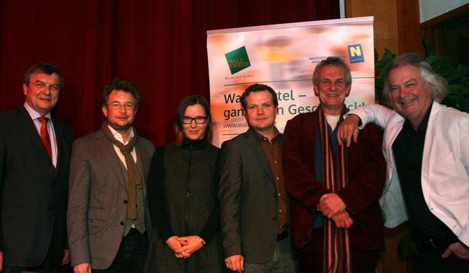 """Pressegespräch """"Kulturhighlights im Waldviertel 2015"""". V.l.n.r.: LAbg. Johann Hofbauer, Mag. Zeno Stanek, Margit Mezgolich, Mag. (FH) Andreas Schwarzinger,Harald Guggenberger, Dr. Peter Hofbauer. Foto: zVg"""