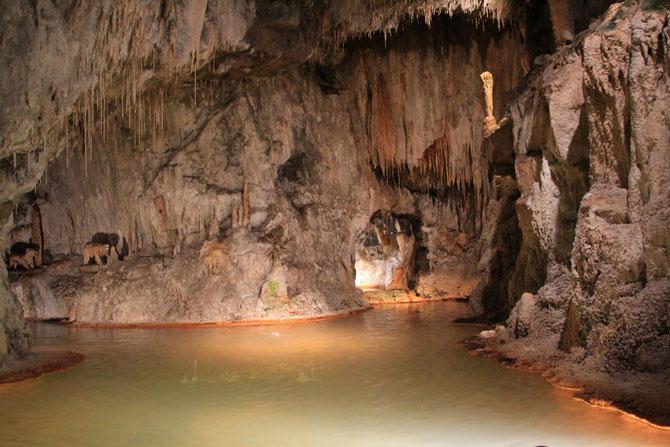 Les deux sources chaudes captées montent dans le bassin de la grotte