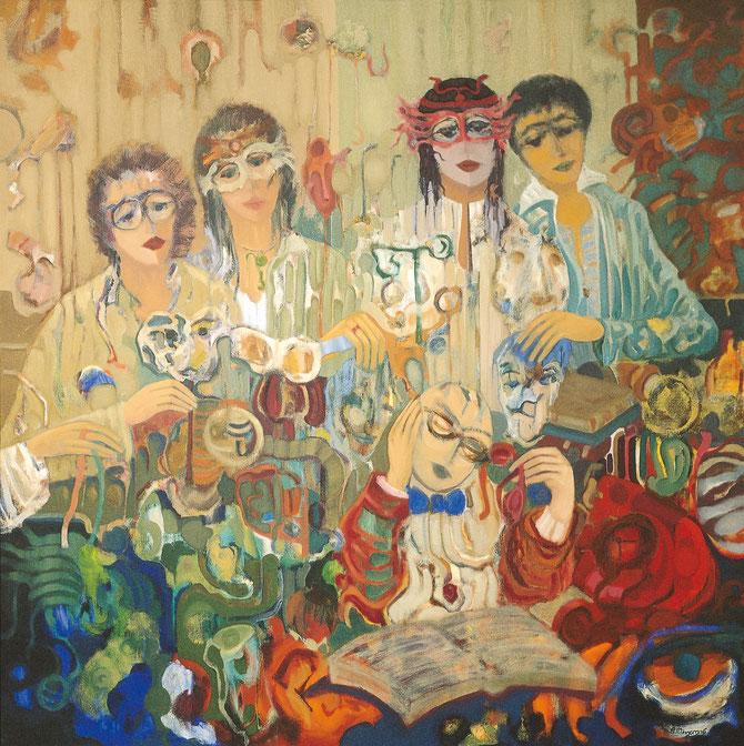 El censor de caretas sociales - 146 x 146 cm - óleo/lienzo - Guillermo R. Mingorance