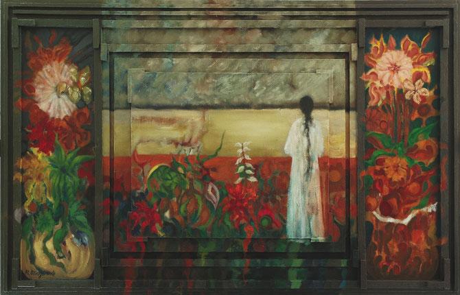 Dos postigos y un exterior de presumible soledad - 130 x 83,6 cm - óleo/Dmp+T+Tbx - Guillermo R. Mingorance