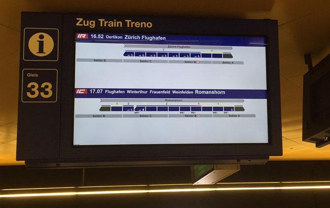 Wagenstandsanzeige im Bahnhof Löwenstrasse Zürich SBB