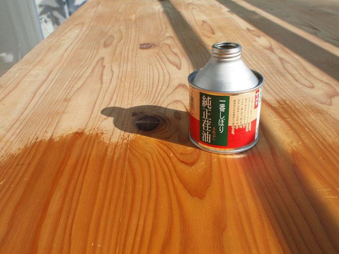 ダイニングテーブルの天板リニュ...