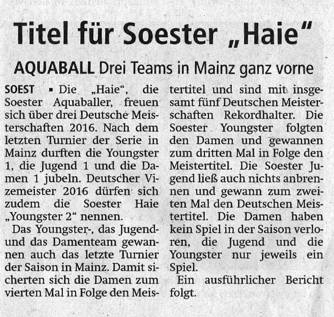 Soester Anzeiger vom 20.06.2016