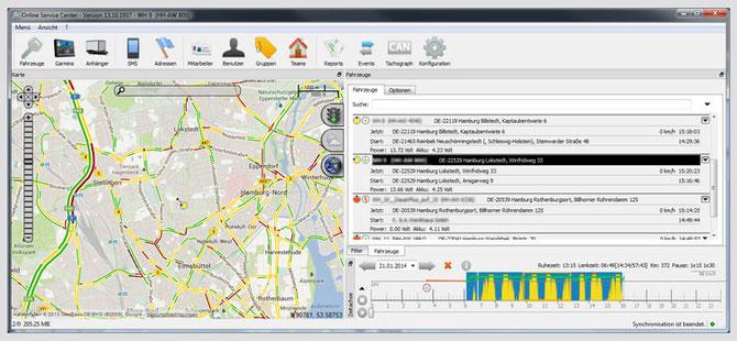 Auto-Ortung und Echtzeit Verkehrsinformationen