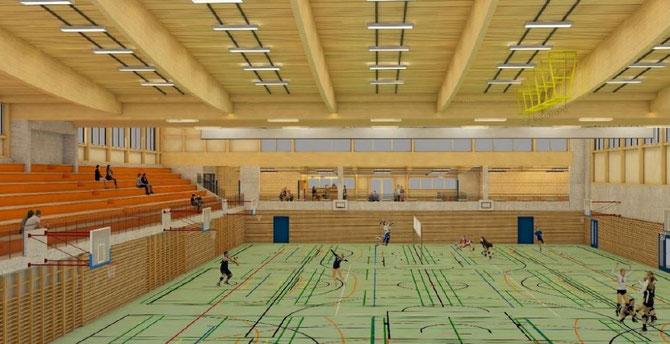 Innenansicht der geplanten Dreifachhalle. Bild: Medienmitteilung Gemeinderat Gossau ZH