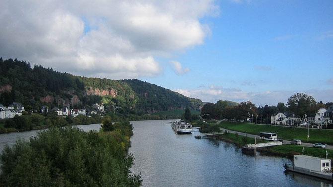 Auf der Kaiser-Wilhelm-Brücke. Links der Ortsteil Pallien. Rechts Zurlauben.