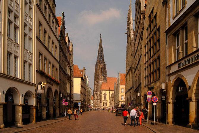 Blick von der Rothenburg über den Prinzipalmarkt zur Kirche St. Lamberti