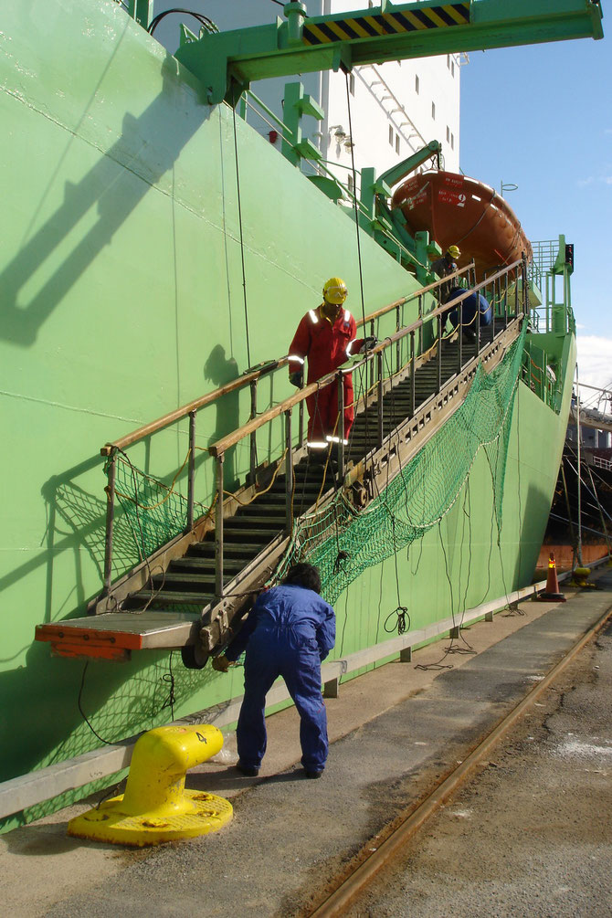 Besatzung  beim Ausbringen der Gangway im Hafen