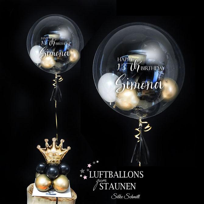 Luftballon Ballon Bubbleballon Bubble Wunschbubble Heliumballon durchsichtig Krone Prinzessin Princess elegant edel weiß gold schwarz Tassel Geburtstag mit Name personalisiert Personalisierung beschriftet Geschenk Idee Mitbringsel Überraschung Versand
