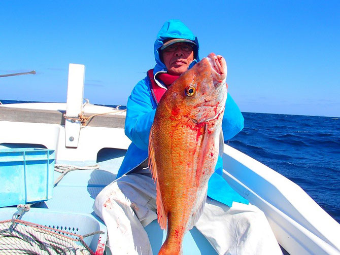 2015.3.08 マダイ今年最大の90cm8.5kgです。