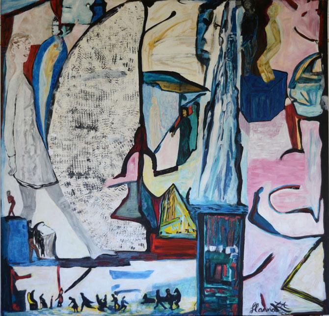 Déchirures multifocales, 2013, toile sur châssis, 130x130 cm