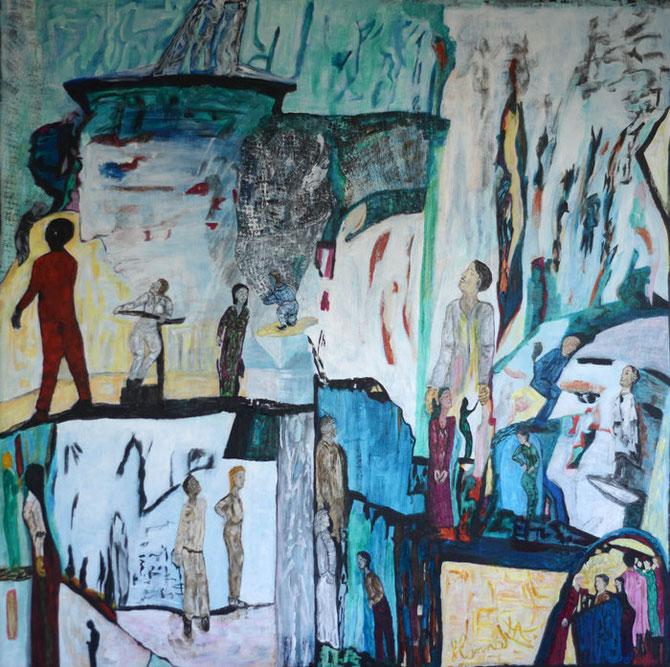 Césures multificales, 2013, toile sur châssis, 130x130 cm