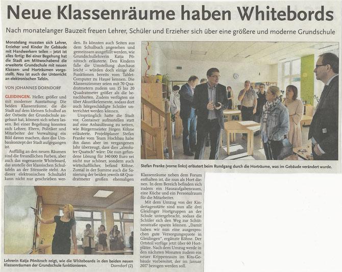 """Zeitungsbericht """"Neue Klassenräume haben elektronische Whiteboards"""", Leine-Nachrichten, 12. August 2016"""