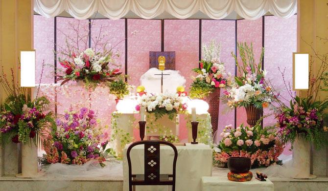 高知斎場での洋風祭壇