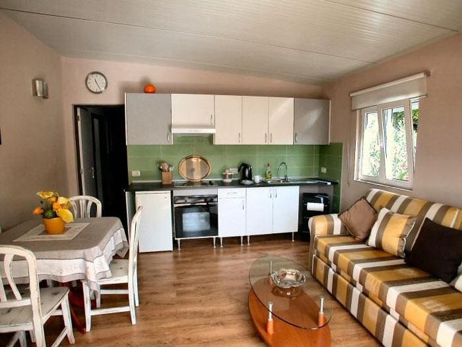 Blick von der Terrasse zum Küchenbereich