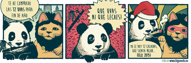 humor cannabico viñeta oso panda Biggie BIG Seeds