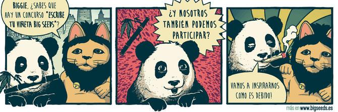 sorteo semillas marihuana gratis, concruso escribe tu viñeta con el panda Biggie de BIG Seeds