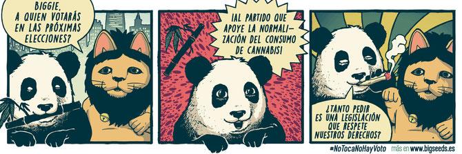 chiste sobre cannabis oso panda, humor cannabico oso panda biggie