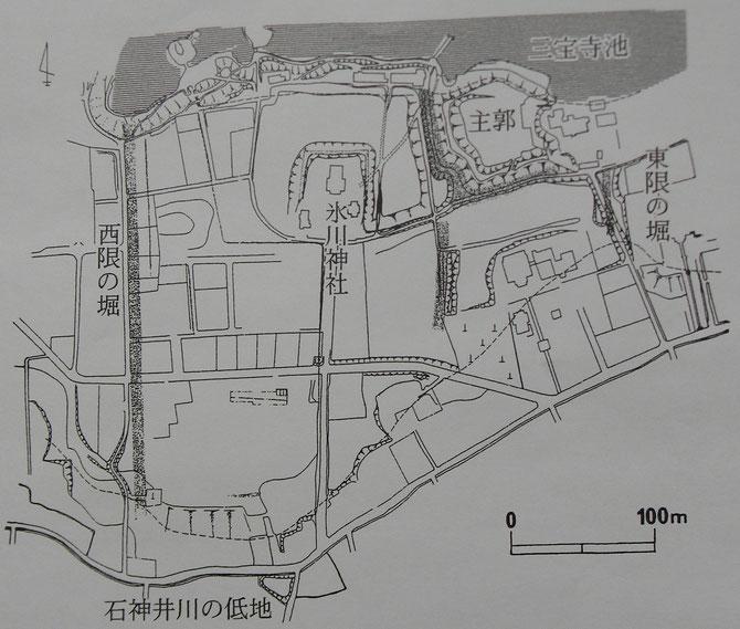石神井城祉の概略図