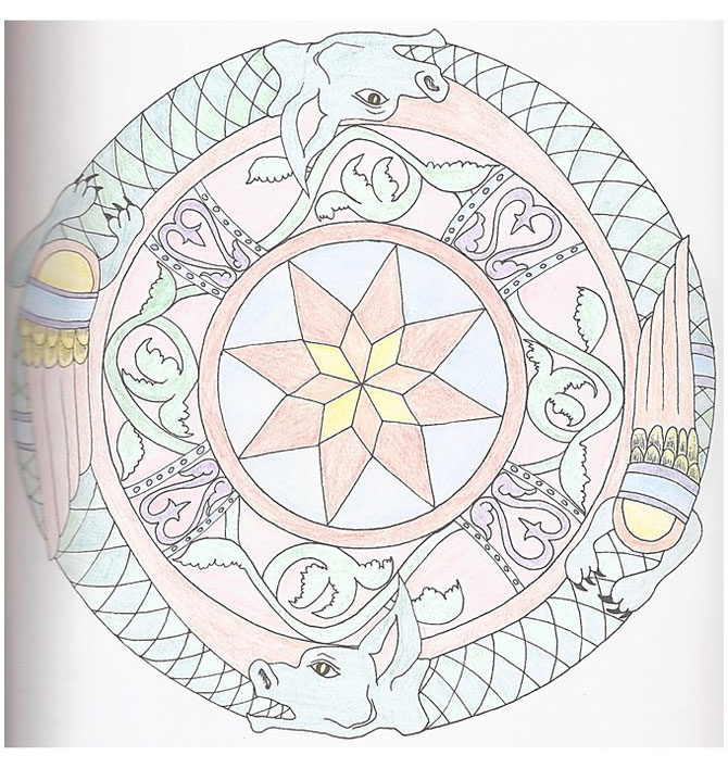 Quelle: Die schönsten Mandalas zum Ausmalen (Sascha Wuillemet, Andrea-Anna Cavelius), 1998 Weltbild Verlag GmbH
