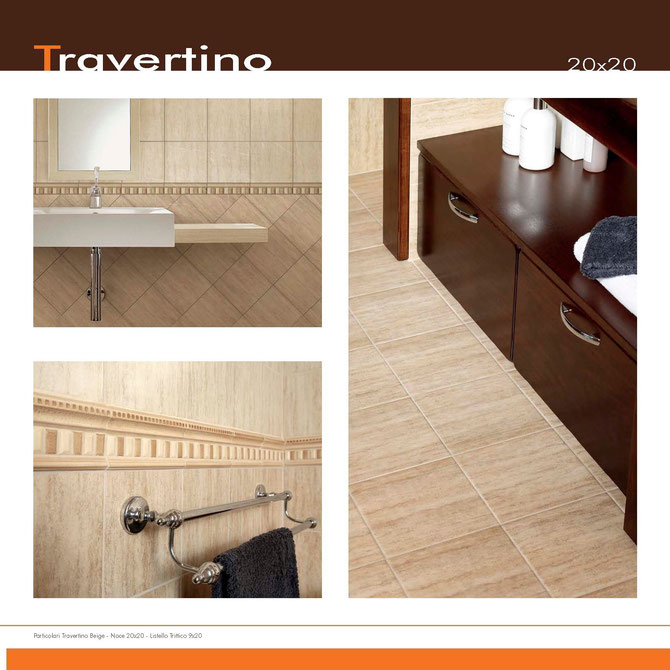 travertino beige-noce 20x20