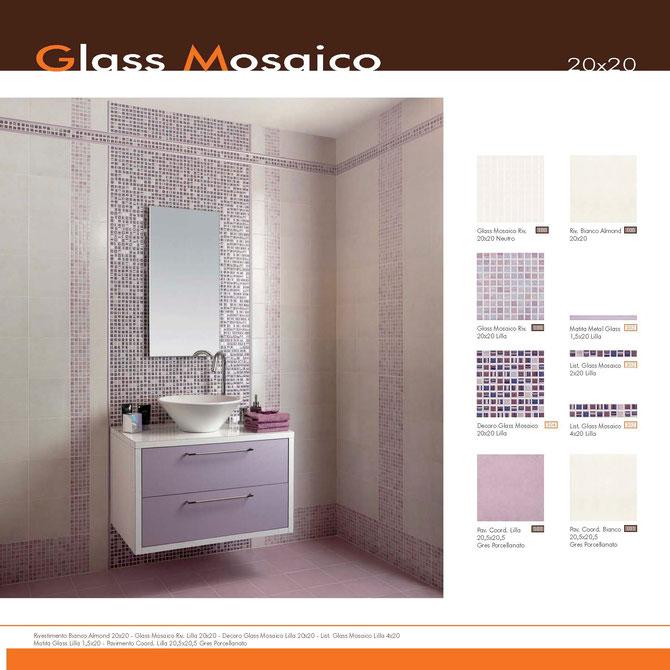 Glass mosaico lilla 20x20